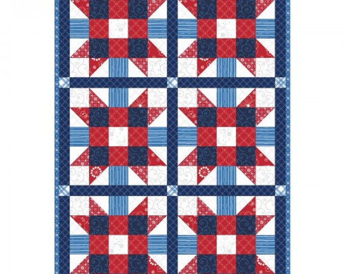 """Sister's Choice Red, White and Blue Pre-cut Quilt Kit by Kimberbell Basics, finished size is 32"""" x 47"""", by Maywood Studio"""