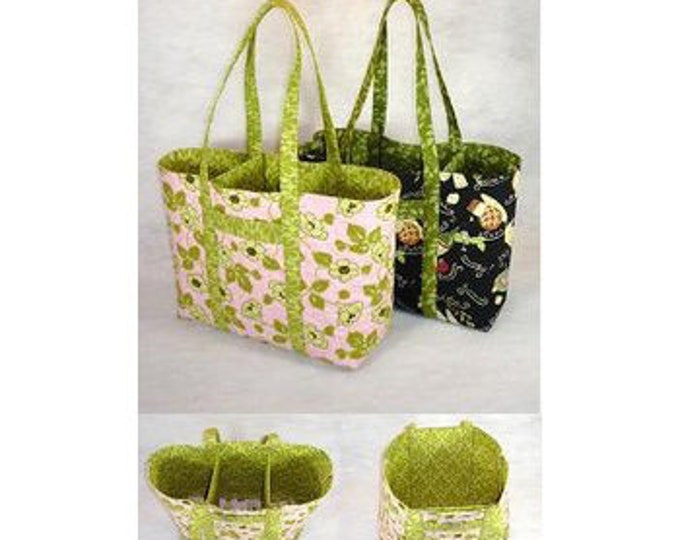 "Almost ""Green"" Bag No. 1, An Eco-friendly reusable bag Pattern, 21"" x 12"" x 5"" approx. size"