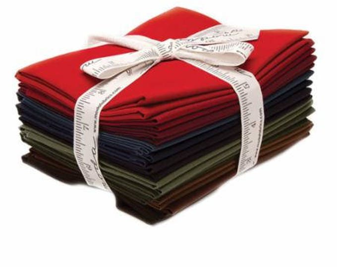 12 Bella Solid Graduated Darks Fat Quarters, Introducing the Colors of Moda Fabrics, 100% Premium Cotton