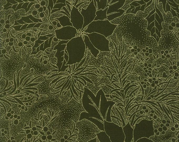 Gilded Greenery Metallic Evergreen designed by Moda Fabrics, 100% Premium Cotton by the Yard
