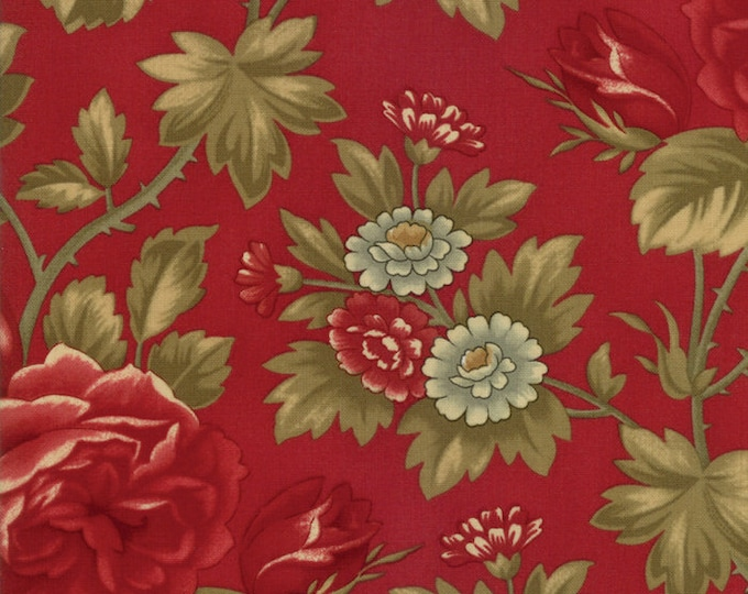 Featured listing image: Rosewood Cherry Floral designed by 3 Sisters for Moda Fabrics, 100% Premium Cotton by the Yard