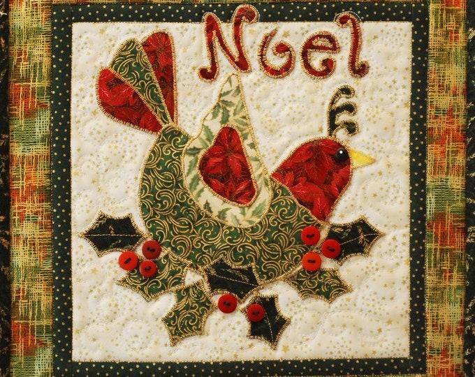 "Noel Holiday Bird 12"" x 12"" Quilt Pattern designed by Desiree's Designs"