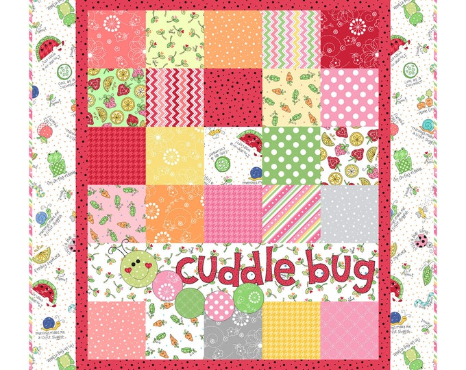 "Lil's Sprout Pink Flannel Quilt Kit designed by Kim Christopherson for Maywood Studio, finished size is 31"" x 35"""