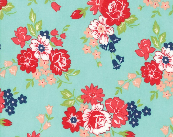 Smitten Small Aqua Floral designed by Bonnie & Camille for Moda Fabrics, 100% Premium Cotton by the Yard