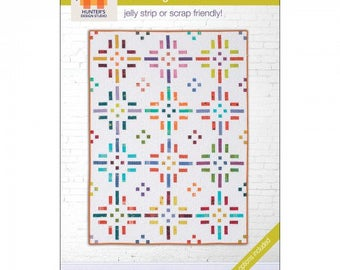 """Dashing Dots Jelly Roll friendly Pattern designed by Hunters Design Studio, Lap quilt 46"""" x 61"""" to King 106"""" x 106"""""""