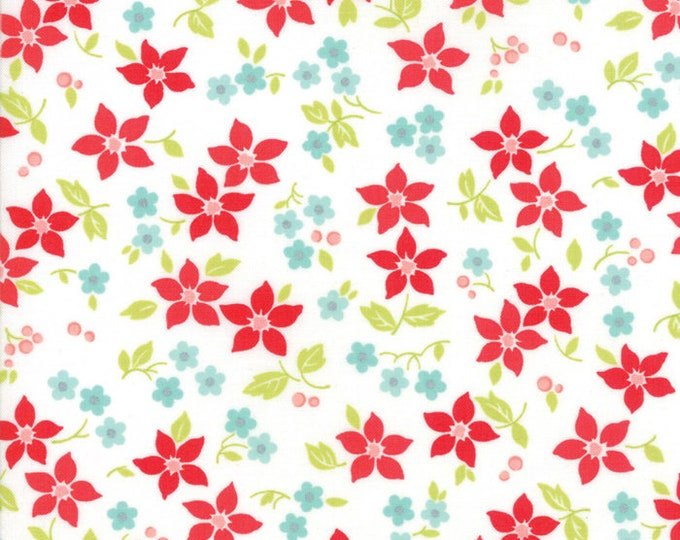 Vintage Holiday Ivory Poinsettias designed by Bonnie & Camille for Moda Fabrics, 100% Premium Cotton by the Yard