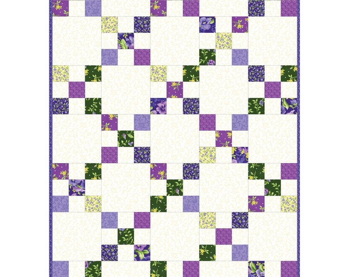 "Emma's Garden Precut Irish Chain Quilt Kit designed by Debbie Beaves for Maywood Studio, 30"" x 42"""