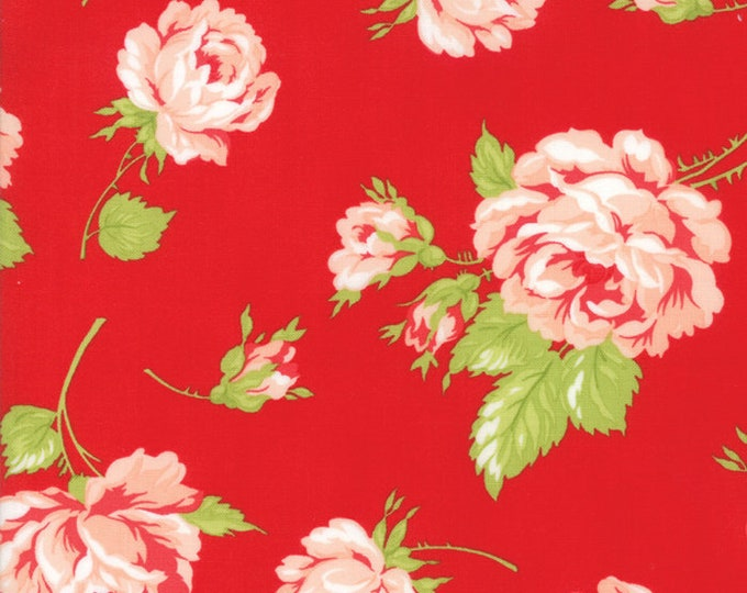 Smitten Red Floral designed by Bonnie & Camille for Moda Fabrics, 100% Premium Cotton by the Yard