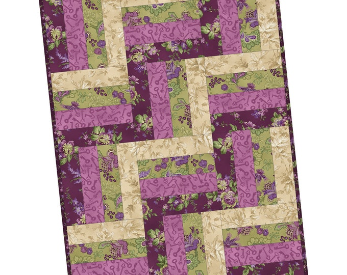 """Aubergine by Debbie Beaves Rail Fence Precut Quilt Kit by Maywood Studio, 24"""" x 32"""", finished block size 8"""""""