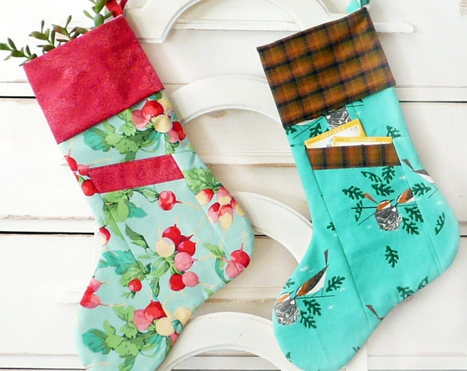"Be Merry 18"" Stocking Pattern designed by Sewn into the Fabric...Pieces of our Lives"