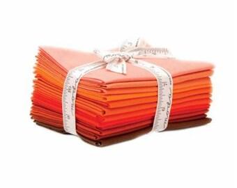 12 Bella Solids Graduated Orange Fat Quarters, Introducing the Colors of Moda