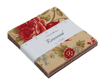 """Rosewood Charm Packs (42 - 5"""" x 5"""" Squares) designed by 3 Sisters for Moda Fabrics"""