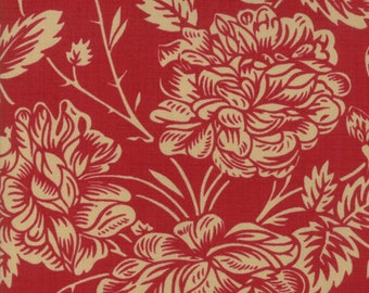 La Vie en Rouge Rouge Floral designed by French General for Moda Fabrics, 100% Premium Cotton by the Yard