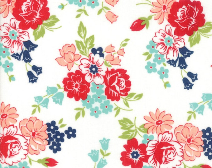 Smitten Cream Floral designed by Bonnie & Camille for Moda Fabrics, 100% Premium Cotton by the Yard