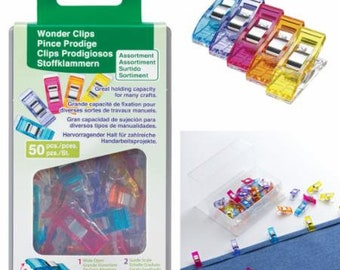 Wonder Clips by Clover, 50 ct, great holding capacity for layers of fabrics, multi-colored