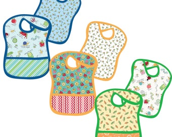 Lil' Sprout Tiny Tot Bibs Flannel Kit designed by Kim Christopherson for Maywood Studio, makes 3 large Bibs