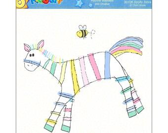 "Quilt Block 8"" x 8"" Embroidered Zebra, Applique'"