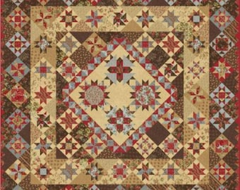 """Rosewood Quilt Kit, 7 month BOM project comes as a booklet, designed by 3 Sisters for Moda Fabrics, 76"""" x 76"""" when finished"""