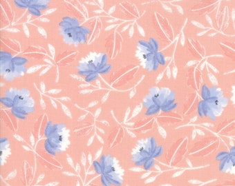Twilight White Peony Coral designed by One Canoe Two for Moda Fabrics, 100% Premium Cotton by the Yard