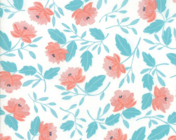 Twilight White Peony Cloud Mist designed by One Canoe Two for Moda Fabrics, 100% Premium Cotton by the Yard