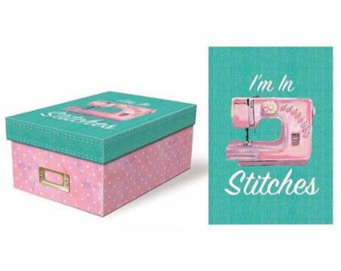 """I'm in Stitches, 11"""" x 7-5/8"""" x 4-1/2"""" photo/storage box. Exclusive Moda Design."""