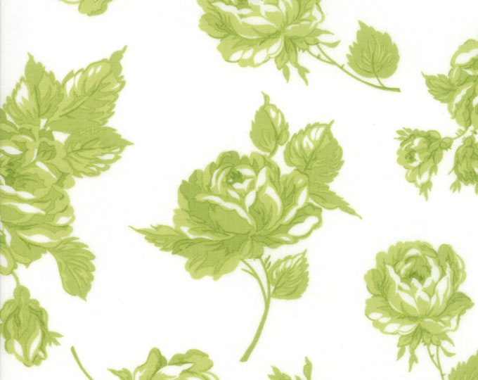 Smitten Cream Green Floral designed by Bonnie & Camille for Moda Fabrics, 100% Premium Cotton by the Yard