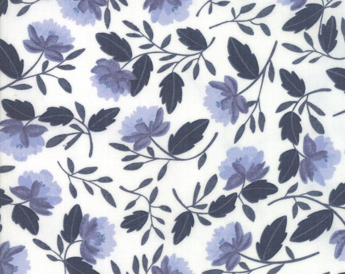 Twilight White Peony Cloud Midnight designed by One Canoe Two for Moda Fabrics, 100% Premium Cotton by the Yard