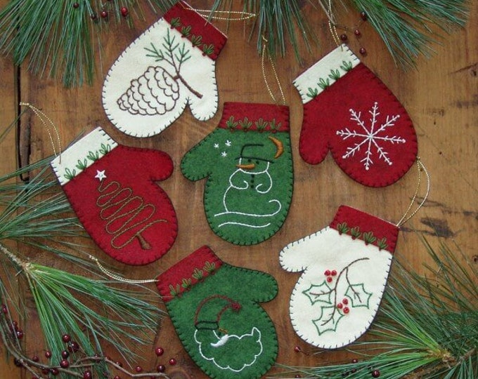 """Mittens Kit to make six embroidered ornaments, each mitten is approx. 3 1/4"""" x 4 1/4"""""""