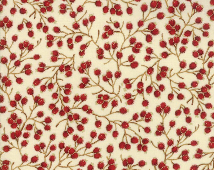 Gilded Greenery Metallic Cream designed by Moda Fabrics, 100% Premium Cotton by the Yard