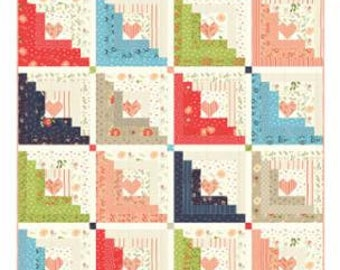 """Walkabout Hearts at Home Pattern designed by Chelsi Stratton Design, 69"""" x 69"""""""