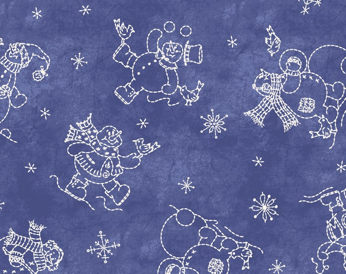 Roly Poly Snowman Blue designed by Robin Kingsley for Maywood Studio, 100% Premium Cotton by the Yard