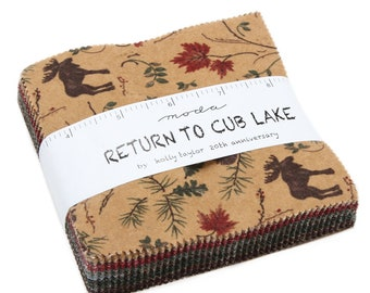 """Return to Cub Lake Flannel Charm Squares (42 - 5"""" x 5"""" Squares) designed by Holly Taylor for Moda Fabrics, Flannel"""