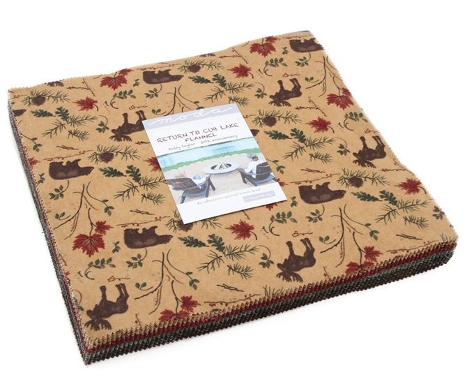 """Return to Cub Lake Flannel Layer Cake (42 - 10"""" x 10"""" Squares) designed by Holly Taylor for Moda Fabics"""