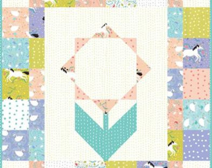 "Enchanted Mini Happy Flower Quilt Kit designed by Gingiber for Moda Fabrics, 31"" x 36"" when finished"