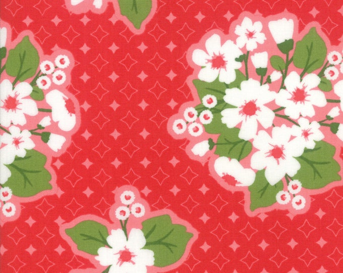 All Weather Friend Apple Red designed by April Rosenthal of Prairie Grass Patterns for Moda Fabrics, 100% Premium Cotton by the Yard