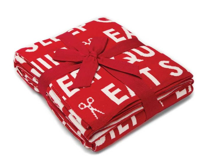 Eat Sleep Quilt Red/White Throw designed by Moda Fabrics, 100% Cotton