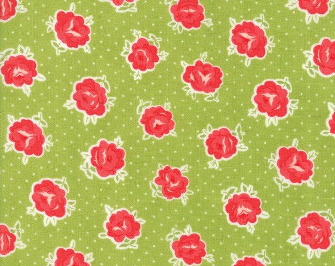 Smitten Green Florets designed by Bonnie & Camille for Moda Fabrics, 100% Premium Cotton by the Yard