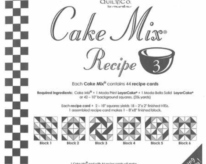 Moda Cake Mix Recipe #3, contains 44 recipe cards showing how to slice and dice your Layer Cake