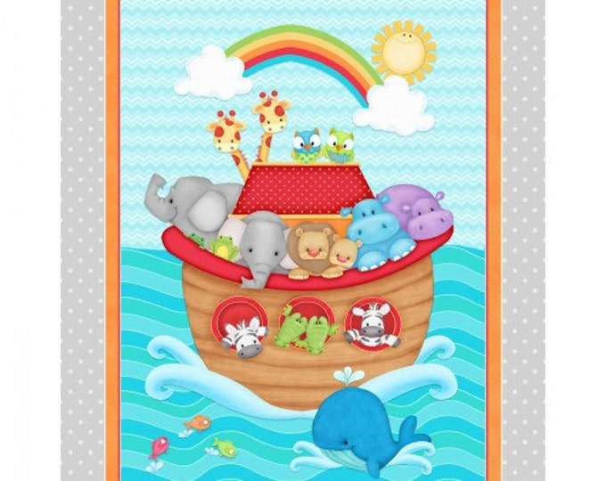 Side by Side Noah's Ark Panel designed by Henry Glass, 100% Premium Cotton by the Panel