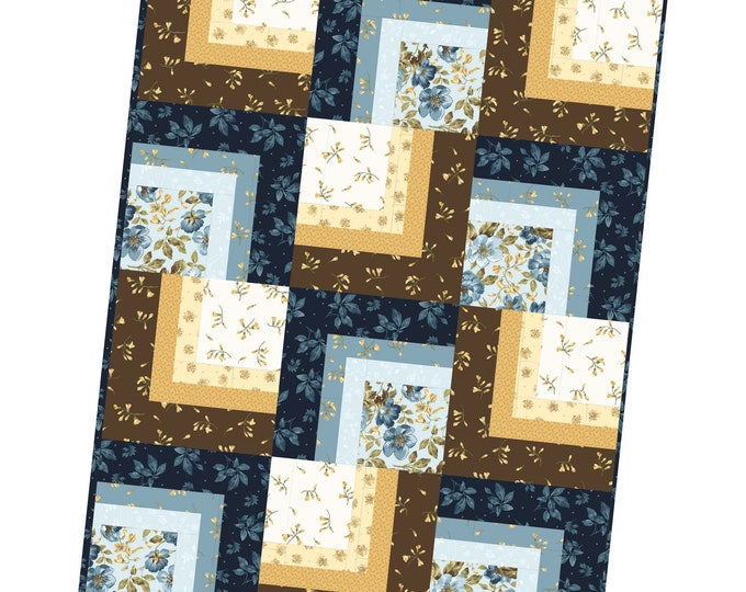 "English Countryside Corner Cabin Quilt Kit designed by Maywood Studio, 36"" x 48"", finished block size 12"""