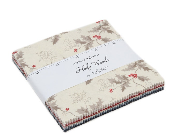 "Holly Woods Charm Pack (42 - 5"" x 5"" squares) designed by 3 Sisters for Moda Fabrics"