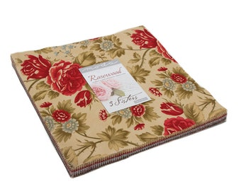 """Rosewood Layer Cake (42 - 10"""" x 10"""" Squares) designed by 3 Sisters for Moda Fabrics"""