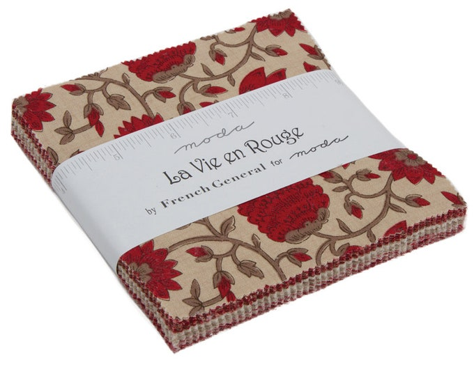 "La Vie En Rouge Charm Packs (42 - 5"" x 5"" Squares) designed by French General for Moda Fabrics"