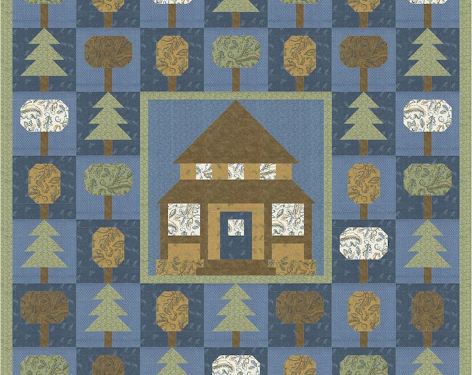 """Fall Fantasy Flannels Forest Living Lap Quilt Pattern, 58"""" x 74"""" designed by Coach House Designs"""