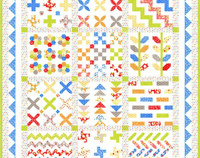 """Figs Shirtings Kit Stitchery Sampler, 50"""" x 60"""", designed by Fig Tree & Co"""