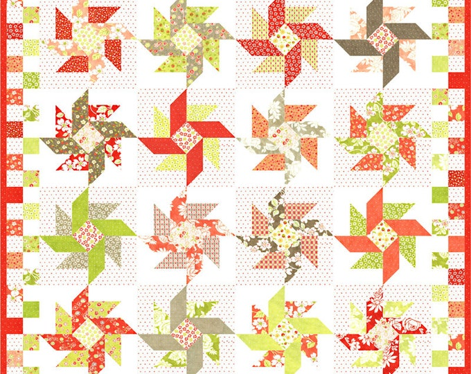 "Strawberries & Rhubarb Strawberry Swirl Jelly Roll friendly pattern, 60"" x 60"" or 56"" x 56"" designed by Fig Tree Co"