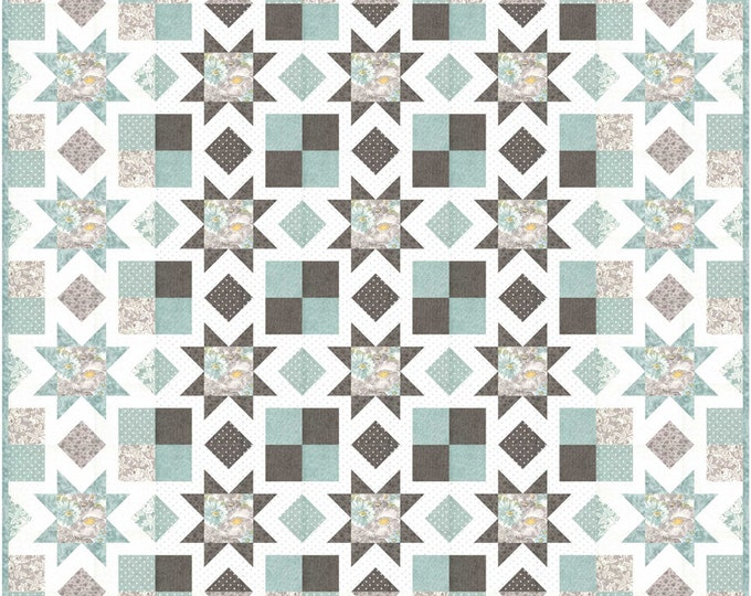 """Sanctuary Tranquility Quilt Pattern, 60"""" x 72"""", designed by 3 Sisters"""
