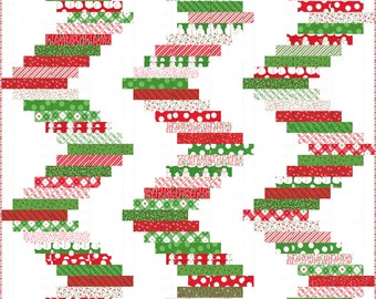 """Merry and Bright Ribbon Candy Jelly Roll friendly Pattern, 68"""" x 74"""" designed by Me and My Sister Designs"""