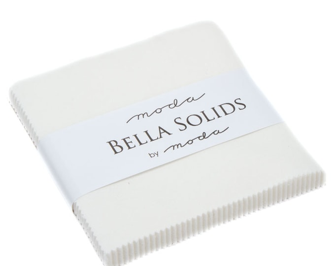 """Bella Solids Off White Charm Packs (42 - 5"""" x 5"""" Squares) perfect for piecing, designed by Moda Fabrics, 100% Premium Cotton by the Yard"""