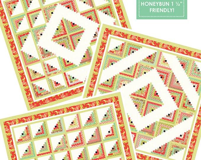 "My Log Cabin 2 Honeybun friendly pattern designed by Fig Tree & Co., 71"" x 71"", 9"" x 9"" blocks"